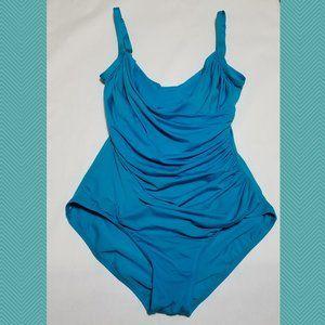 Jantzen Classics Blue Drape Surplice Swimsuit
